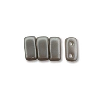 CzechMates 2-Hole Brick Bead - 3mm x 6mm - Silver Alabaster