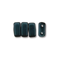 CzechMates 2-Hole Brick Bead - 3mm x 6mm - Dark Turquoise