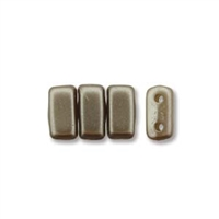 CzechMates 2-Hole Brick Bead - 3mm x 6mm - Grey Brown