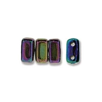 CzechMates 2-Hole Brick Bead - 3mm x 6mm - Iris Blue