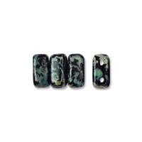 CzechMates 2-Hole Brick Bead - 3mm x 6mm - Jet Picasso