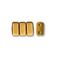 CzechMates 2-Hole Brick Bead - 3mm x 6mm - Matte Metallic Goldenrod