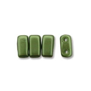 CzechMates 2-Hole Brick Bead - 3mm x 6mm - Pearlcoat Olive Green