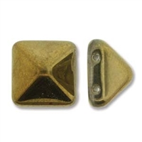 12mm Czech Pyramid Bead- Crystal Amber