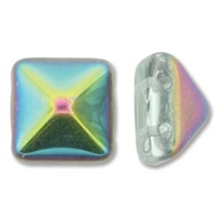 12mm Czech Pyramid Bead- Crystal Vitrail