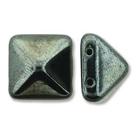 12mm Czech 2-hole Pyramid Bead- Full Jet Chrome