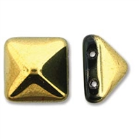 12mm Czech 2-hole Pyramid Bead- Jet Amber