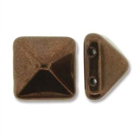 12mm Czech 2-hole Pyramid Bead- Jet Bronze