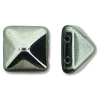 12mm Czech 2-hole Pyramid Bead- Jet Chrome