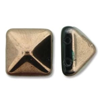 12mm Czech 2-hole Pyramid Bead- Jet Gold Capri