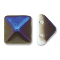 12mm Czech 2-hole Pyramid Bead- White Azuro