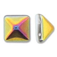 12mm Czech 2-hole Pyramid Bead- White Marea