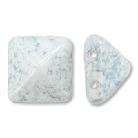 12mm Czech 2-hole Pyramid Bead- White Teracota Blue