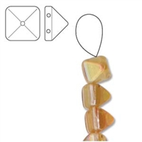 6mm Czech 2-Hole Pyramid Bead- Crystal Apricot