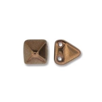 6mm Czech 2-Hole Pyramid Bead- Jet Bronze