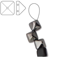 6mm Czech 2-Hole Pyramid Bead- Jet Chrome