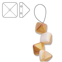 6mm Czech 2-Hole Pyramid Bead - White Apricot