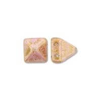 6mm Czech 2-Hole Pyramid Bead - White Travertine Red