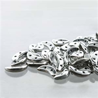 CzechMates 2-Hole Crescent Bead - 3mm x 10mm - Silver