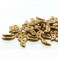 CzechMates 2-Hole Crescent Bead - 3mm x 10mm - Matte Metallic Antique Gold