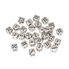 Dice Bead-10mm Silver with black dots