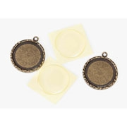 Darice Signed, Sealed & Remembered Collection-Round Frame Charm - Antique Brass 30mm