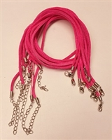 "2mm Flat Faux Suede Finished Necklace- Pink- 20"" with extender"