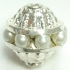8mm One Row Filigree Bead Pearl/Silver