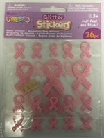 Foamies Stickers- Glitter Pink Awareness Ribbons