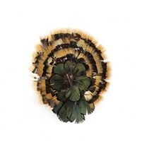 Natural Amber and Iridescent Bronze Lady Amherst Pheasant Feather Pad