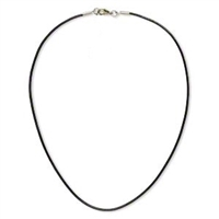 2mm Round Black Leather Finished Necklace- 16""