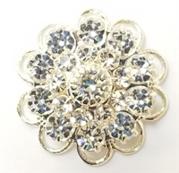 Swarovski Large Flowerette with Filigree-CRYSTAL/SILVER