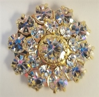 Swarovski Large Flowerette with Stones-CRYSTAL/GOLD
