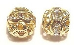 10mm One Row Large Stone Filigree Bead Crystal/Gold