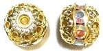 8mm One Row Large Stone Filigree Bead Crystal AB/Gold