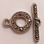 Marcasite 10mm Round Toggle