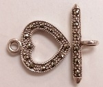 Marcasite 15mm Heart Toggle