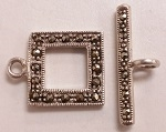 Marcasite 15mm Square Toggle