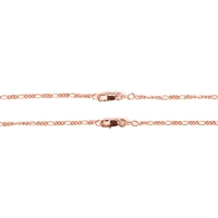 Figaro Chain - Rose Gold - 18 inches