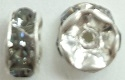 6mm Large Stone Rondell-BLACK DIAMOND/SILVER