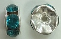 6mm Large Stone Rondell-BLUE ZIRCON/SILVER