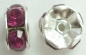 6mm Large Stone Rondell-FUCHSIA/SILVER