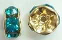 6mm Large Stone Rondell-BLUE ZIRCON/GOLD