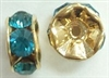 6mm Large Stone Rondell-INDICOLITE/GOLD