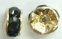 6mm Large Stone Rondell-JET/GOLD