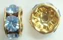 6mm Large Stone Rondell-LIGHT SAPPHIRE/GOLD