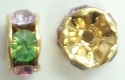 6mm Large Stone Rondell-MULTI PASTEL/GOLD
