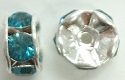 6mm Large Stone Rondell-INDICOLITE/SILVER