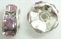 6mm Large Stone Rondelle-LIGHT AMETHYST/SILVER