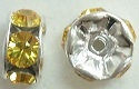 6mm Large Stone Rondell-LIGHT TOPAZ/SILVER
